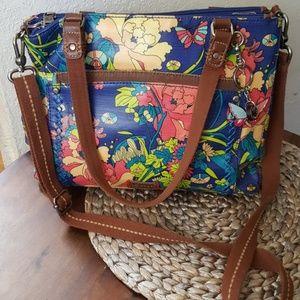 Sakroots Colorful canvas and leather shoulder bag